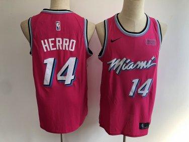 newest ca705 db70d Men's Miami Heat #14 Tyler Herro Basketball Jersey Pink City ...