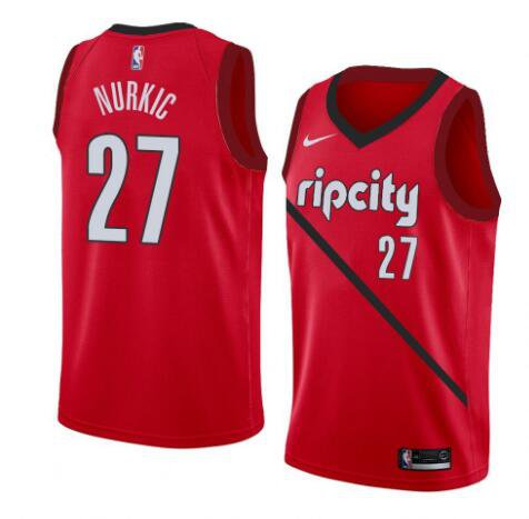 timeless design 306d0 77cf2 Men's Portland Trail Blazers #27 Jusuf Nurkic Jersey Red ...