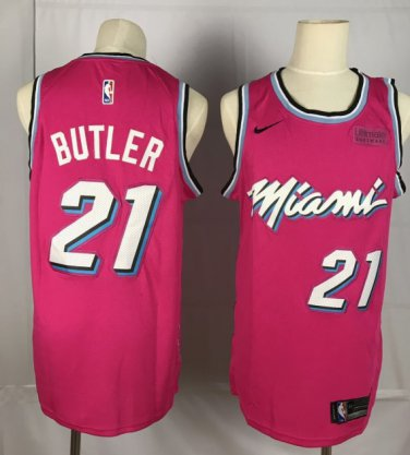 sale retailer e5618 4aceb Men's Miami Heat #21 Jimmy Butler Basketball Jersey Pink ...