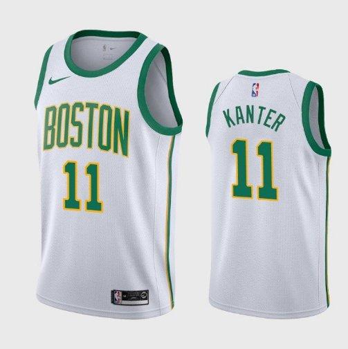 Men's Boston Celtics #11 Enes Kanter White Gold Jersey City Edition