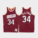 men's rockets #34 hakeem olajuwon red checkerboard jersey throwback