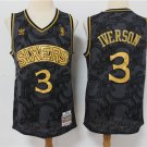 Men's 76ers #3 Allen Iverson Jersey Black Gold Mesh Printing Throwback
