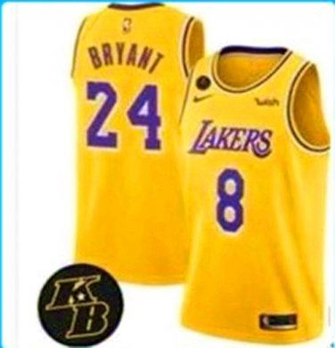 Youth Los Angeles Lakers #8#24 Kobe Bryant Jersey Yellow Gold