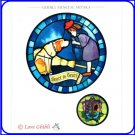 RARE 2 left - Greeting Card Stained Glass-like Kiki's Delivery Service Totoro Nekobus Ghibli Museum