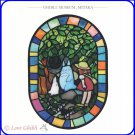 RARE 2 left - Greeting Card - Stained Glass-like Made Japan Mei Chibi Chu Blue Totoro Ghibli Museum
