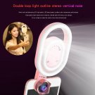 3 in 1 Wide Angles Macro Lens + Selfie LED Fill Light Camera Photography for Phone Pink