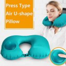 Ultralight Portable Air Inflatable U Shape Pillow Outdoor Camping Travel Soft Blow-Up Blue