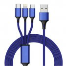 3-in-1 charging mobile phone cable for iphone Android type-c flash charging 3A data cable blue