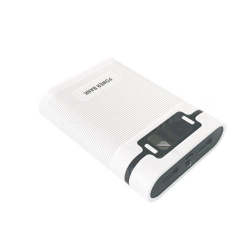 NO Batteries Charger Box Portable Power Bank Case 2 USB Output Port Power Bank White