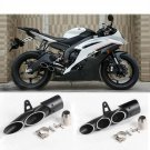 370-51mm Black Aluminum Motorcycle Exhaust Muffler Pipe Three-outlet Tail Pipe