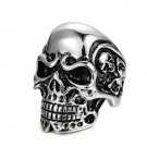 "Fashion Punk Style Skull Rings Stainless Steel Rock Vintage Size ""7"""