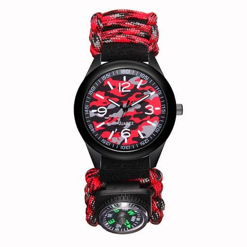 Outdoor Survival Watch Paracord Compass Wrist Watch Men's Climbing Watches  Red