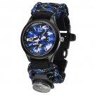 Outdoor Survival Watch Paracord Compass Wrist Watch Men's Climbing Watches  Blue