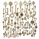 70Pcs Vintage Bronze Skeleton Heart Key Pendants DIY Accessaries