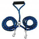 Double Dog Leash Braided Tangle Dual Leash Couple For Walking Training Two Dogs Blue