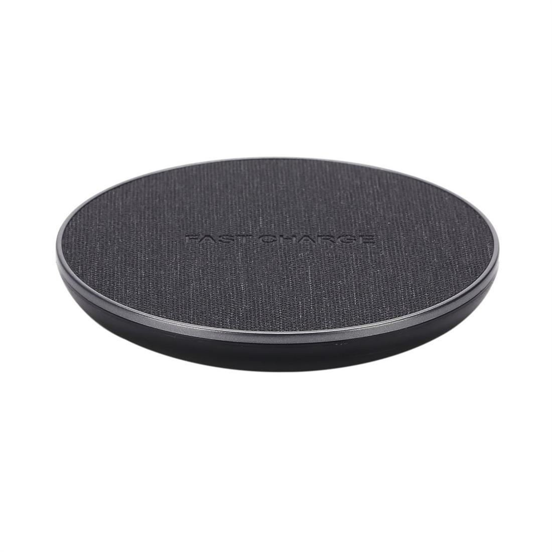PU Linen Finish Wireless Qi Charger Fast Charging Pad for Qi-Enable Devices