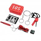 Outdoor Survival Gear Kit Camping Tool Kit SOS Emergency Survival Tools Kit Red