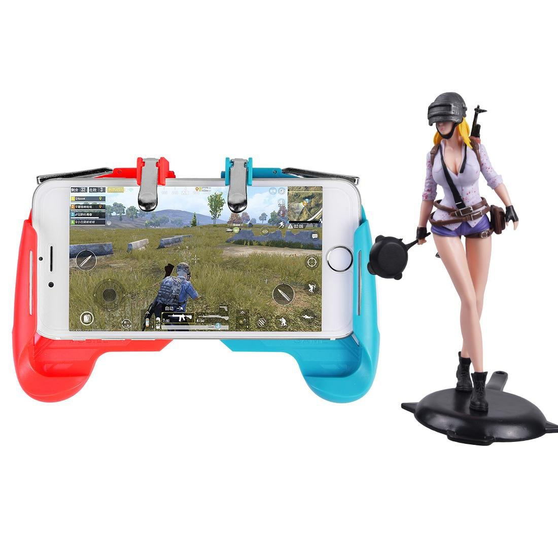 AK16 Phone Game Trigger Handle Grip Red&Blue + Figure Girl
