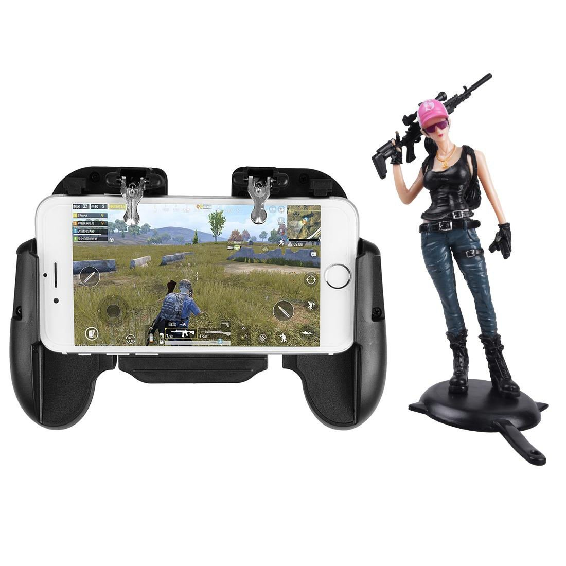 H5 Phone Game Trigger Handle Grip With Fan Black + Figure Pink Cap Girl