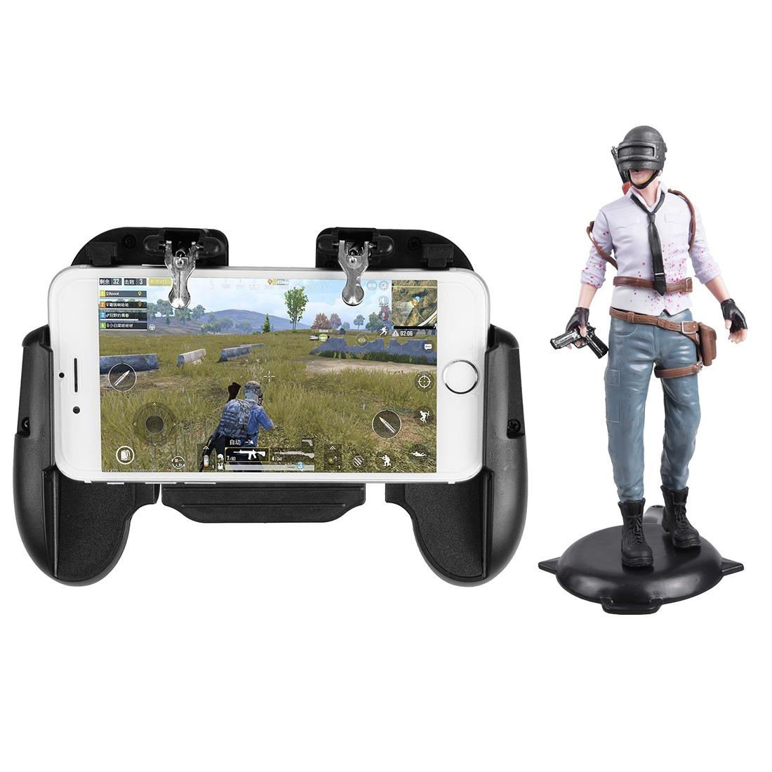 H5 Phone Game Trigger Handle Grip With Fan Black + Figure Handsome Boy