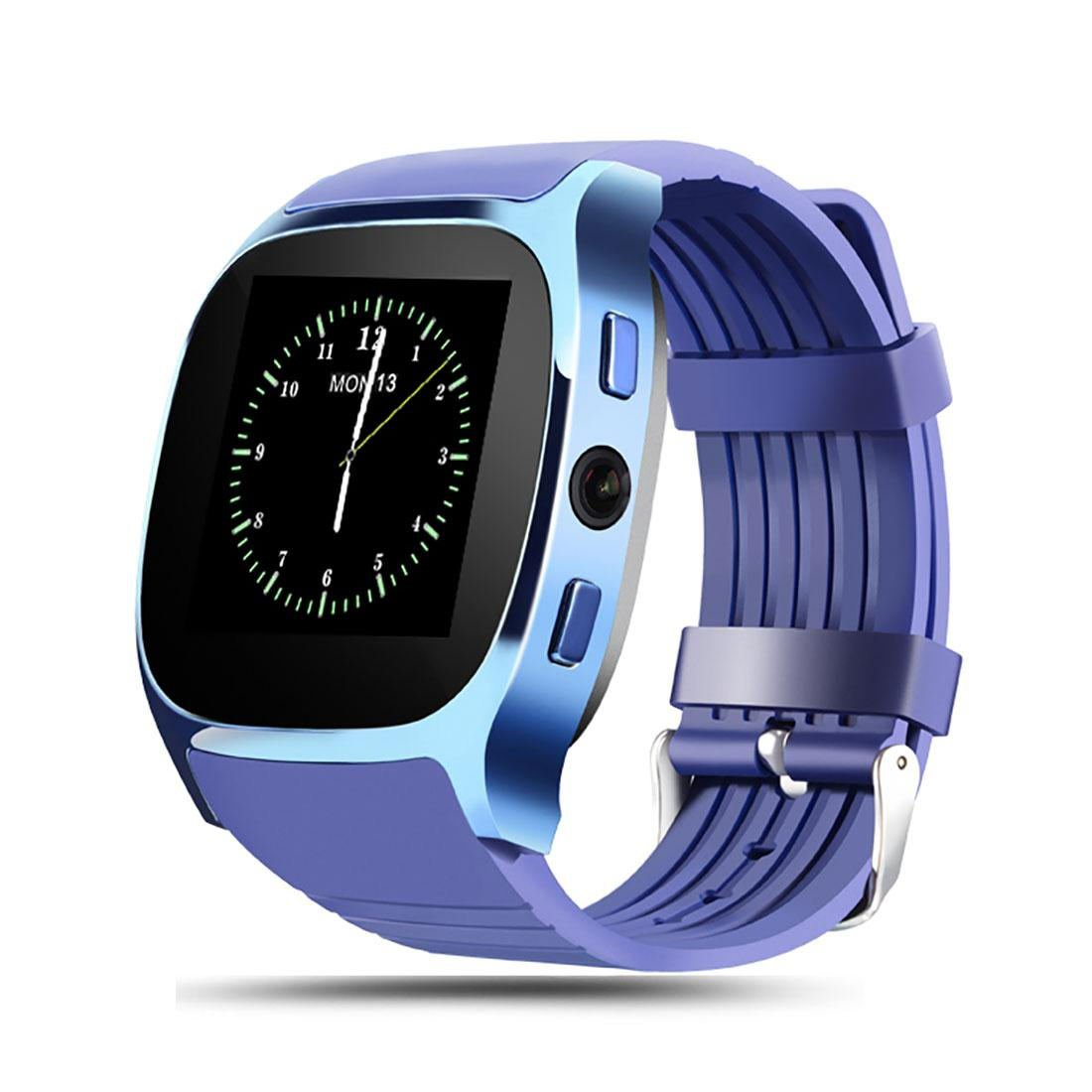 T8 Bluetooth Smart SIM Card Phone Watch Sports Steps Smart Wear Android Watch Blue