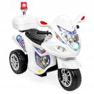 BCP 6V Kids Ride-On Police Motorcycle w/ 3 Wheels, Storage - White