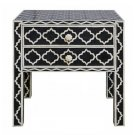 Handmade Bone Inlay 2 Drawer Side Table -Moroccan