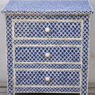 Bone Inlay 3-Drawer Bedside - Fish Scale