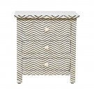 Black Bone Inlay 3-Drawer Bedside - Zigzag