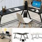 L-shaped Corner  Desk Home OfficeGlass Computer Workstation Large Laptop Table