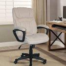 Comfortable Office Chair Microfiber Pillowed Headrest PC Desk Seat Light Beige