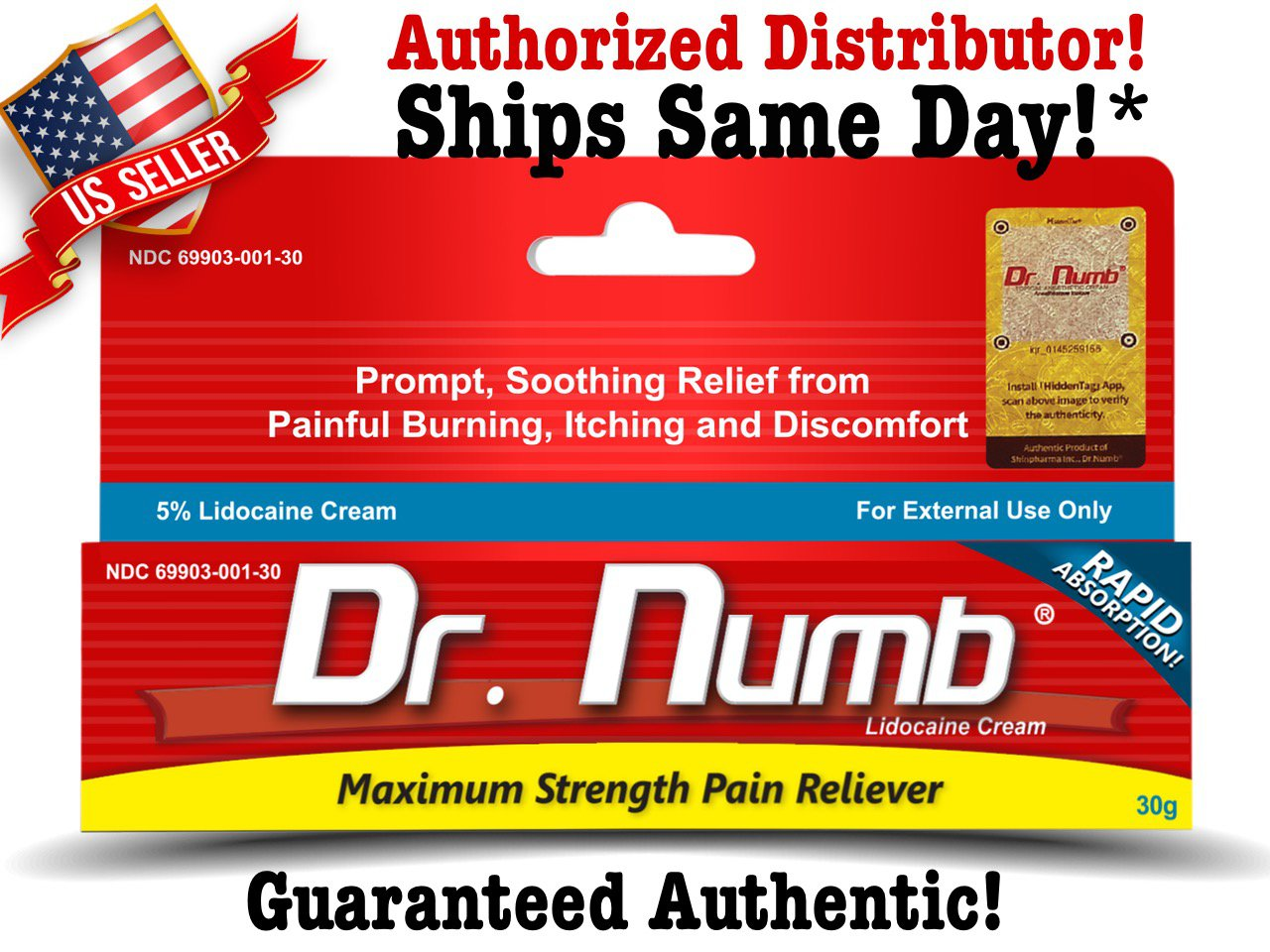 Dr Numb Topical Anesthetic 30g (1oz) 5% Lidocaine ...