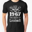 NEW Life Begins At 50 1967 The Birth Of Legends Black T-Shirt Size S-2XL