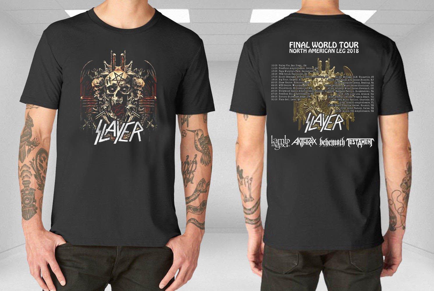 HOT NEW Slayer  Final World Tour 2018 North America T-Shirts S-2XL