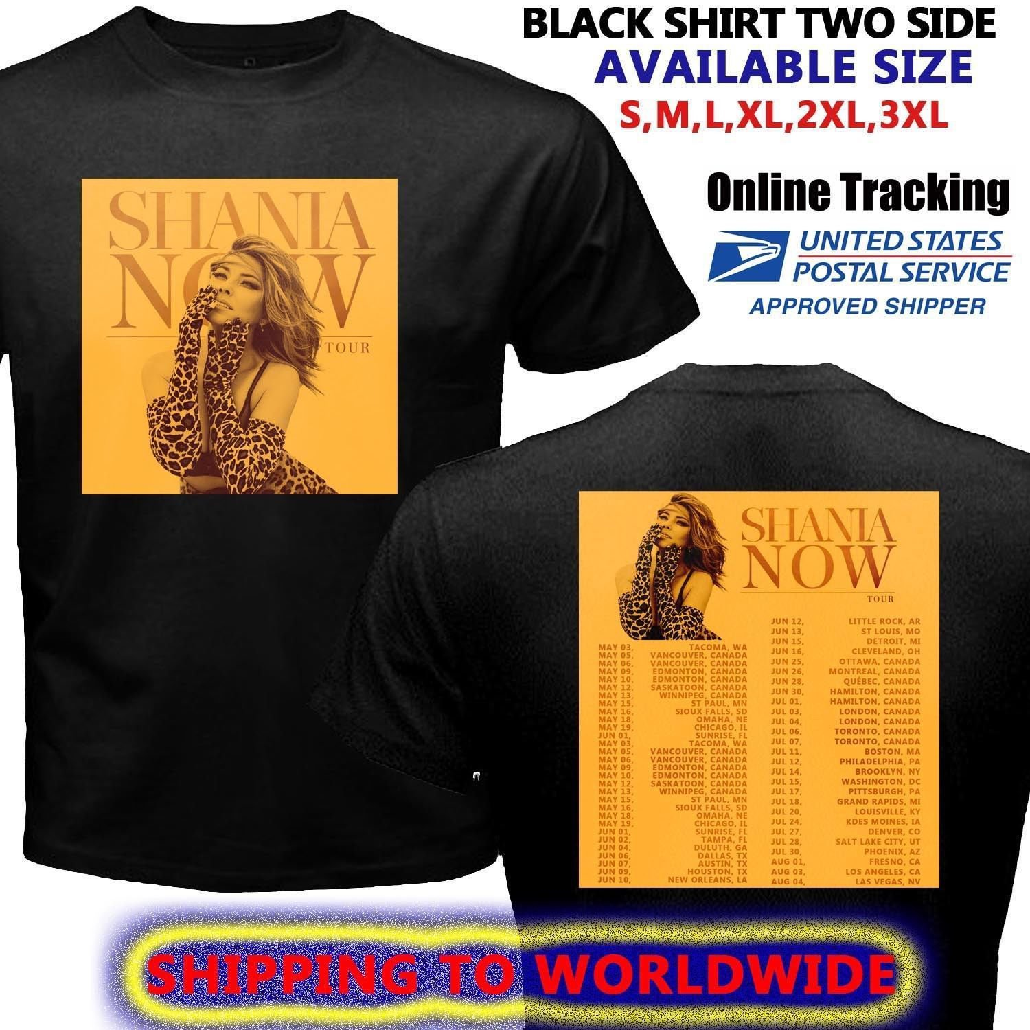 HOT NEW Shania Twain Now Brown Tour Dates 2018  T-Shirts S-2XL