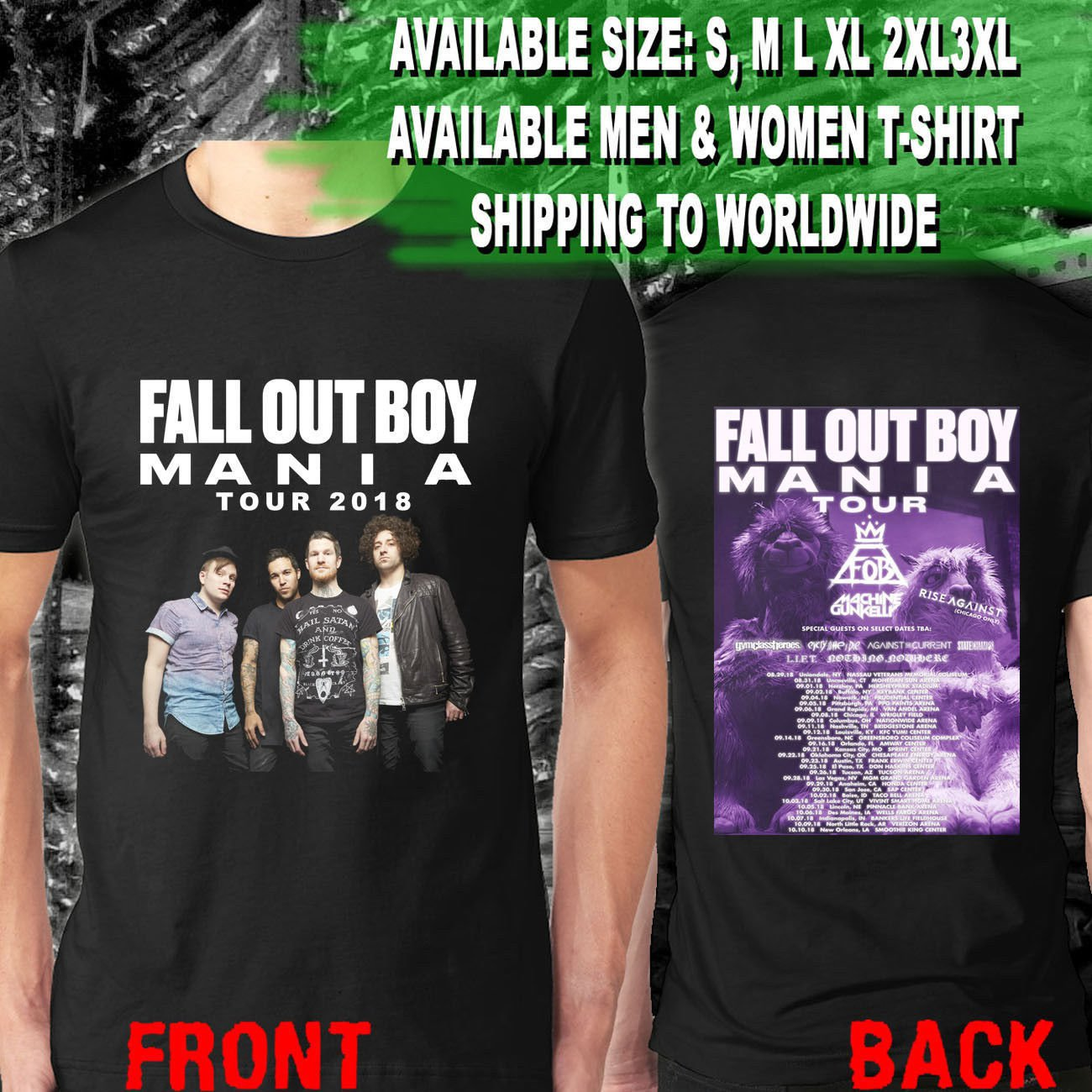 HOT NEW FOB Fall Out Boy the Mania Summer Tour Dates 2018 T-Shirts S-2XL