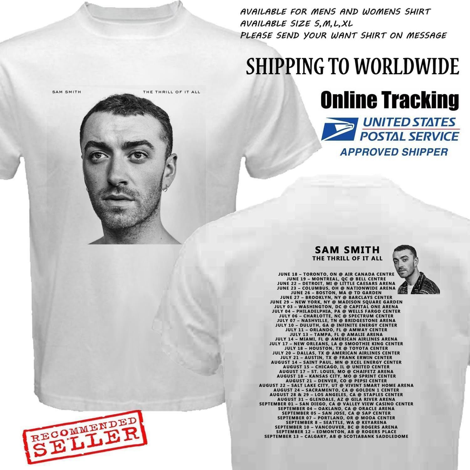 HOT NEW New SAM SMITH-THE-THRILL-OF-IT-ALL-Tour 2018 T-Shirts S-2XL