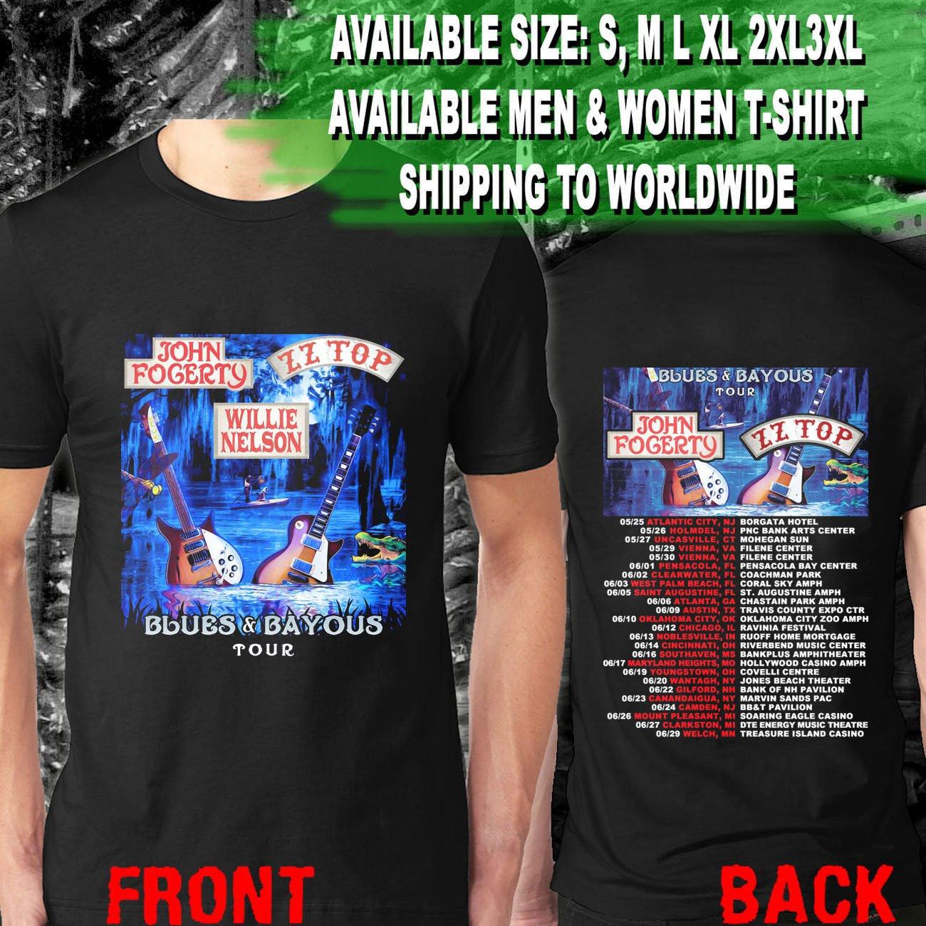 HOT NEW John Fogerty & ZZ Top Blues & Bayous Tour Dates 2018   T-Shirts S-2XL