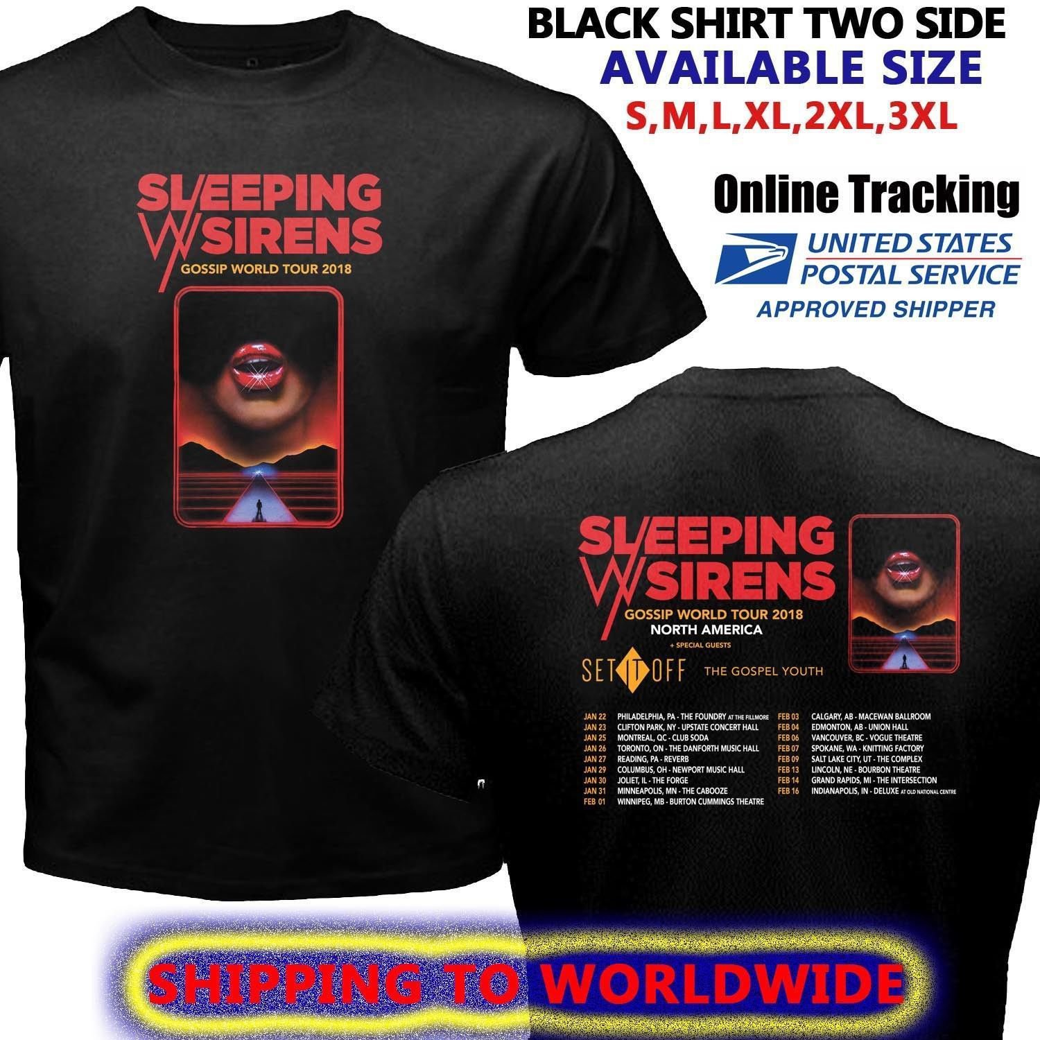 HOT NEW SLEEPING WITH SIRENS GOSSIP TOUR DATES 2018 T-Shirts S-2XL