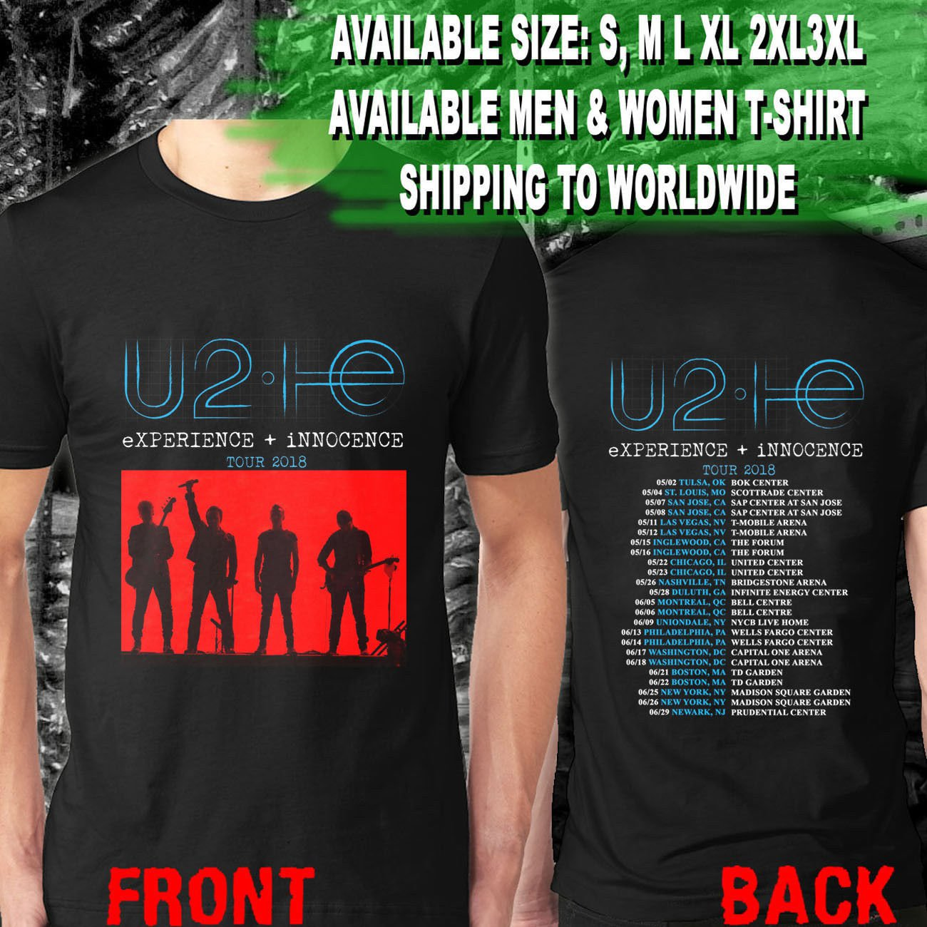 HOT NEW U2 eXPERIENCE + iNNOCENCE Concert Tour Dates 2018   T-Shirts S-2XL
