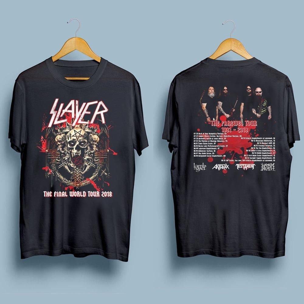 HOT NEW Slayer T-Shirt Final World Tour 2018 Second Leg Lamb  T-Shirts S-2XL