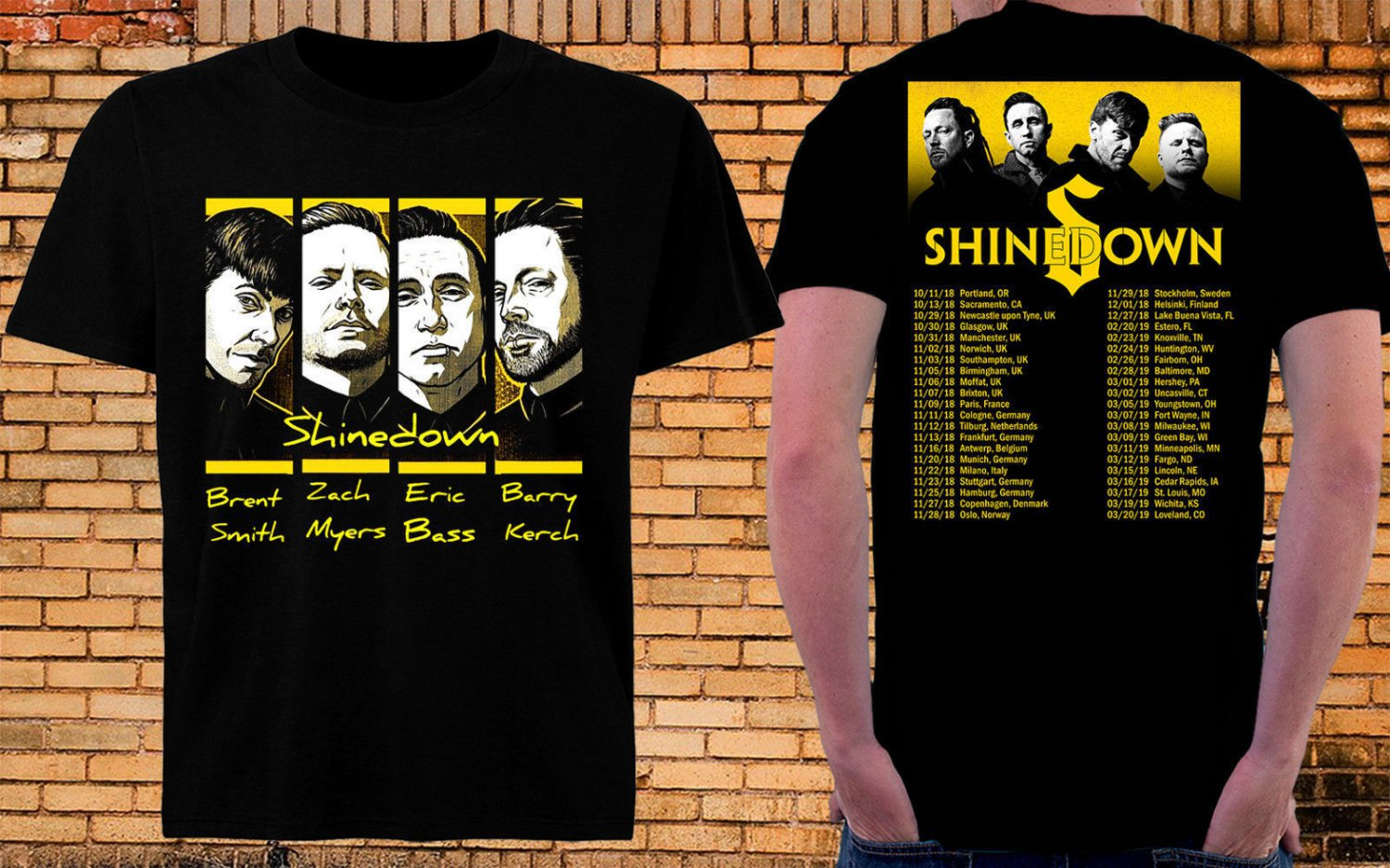 HOT NEW ATTENTION TOUR 2019 SHINEDOWN Tshirt Black Color 100%  T-Shirts S-2XL