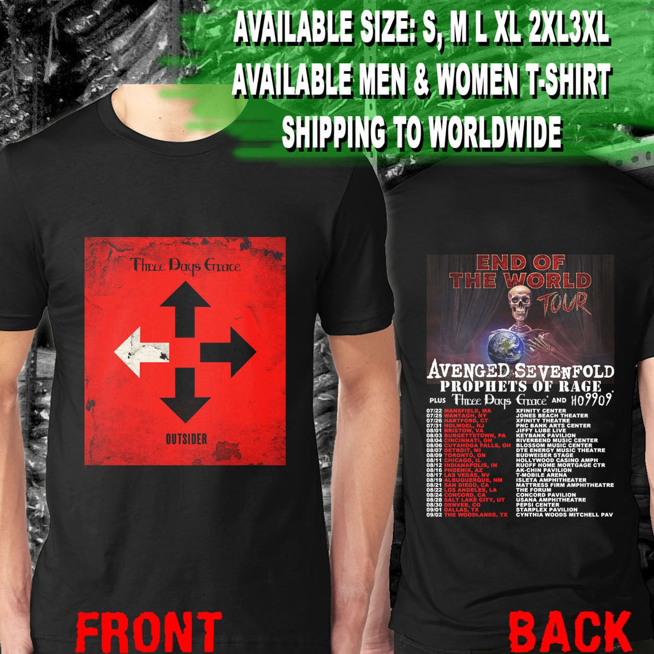 HOT NEW Avenged Sevenfold Prophets Of Rage Three Days Grace  T-Shirts S-2XL