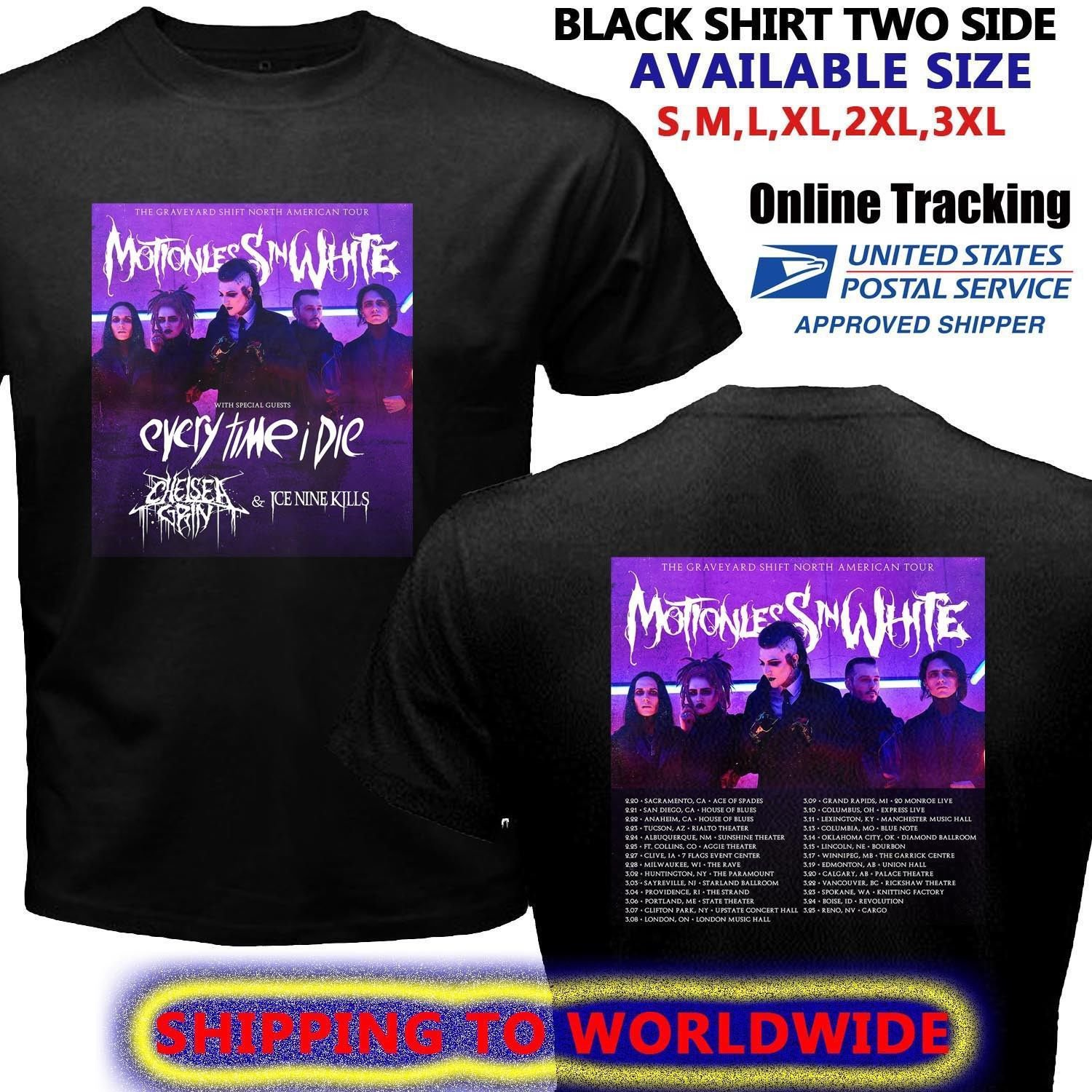 HOT NEW MOTIONLESS IN WHITE TOUR DATES 2018 T-Shirts S-2XL