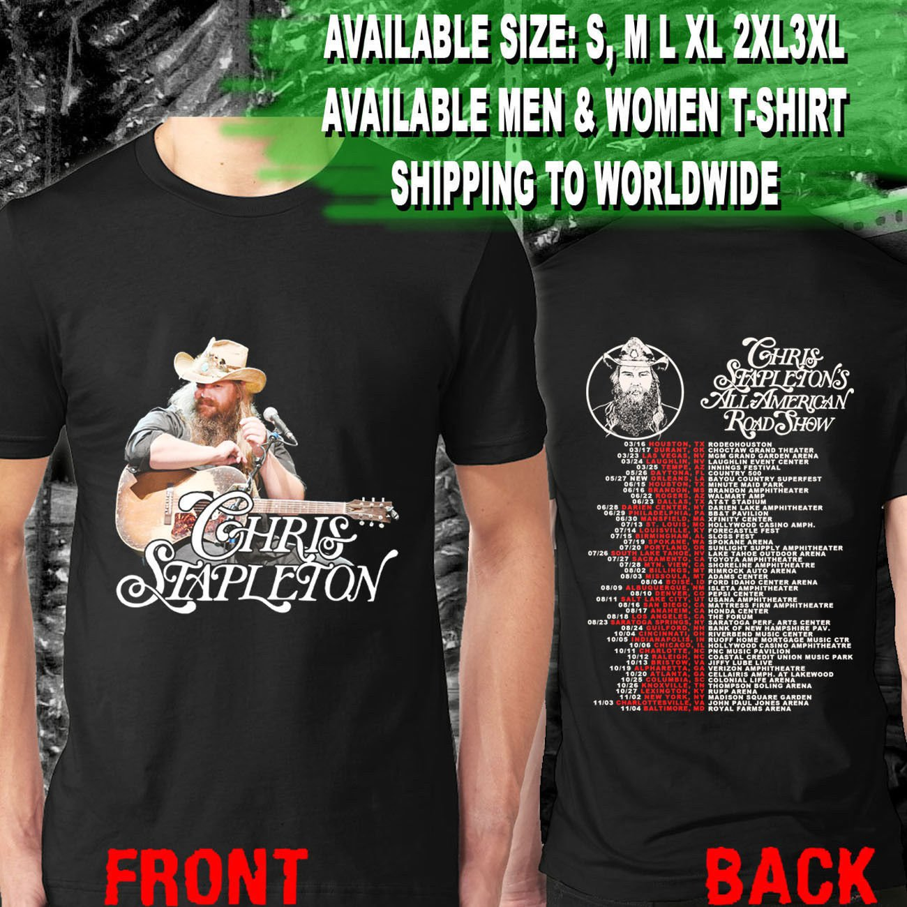 HOT NEW Chris Stapleton All American Road Show Tour Dates 2018 T-Shirts S-2XL