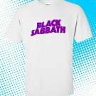 New Black Sabbath Purple Rock Band Logo Men's White T shirt size S-2XL