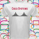 Cisco Systems Logo Network Computer Men's White T-Shirt Size S-2XL