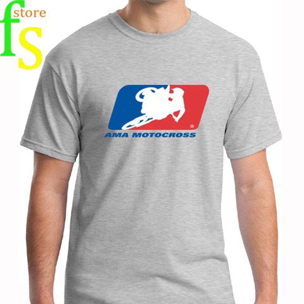 New AMA MOTOCROSS Racing Logo Men's Grey T-Shirt Size S-2XL