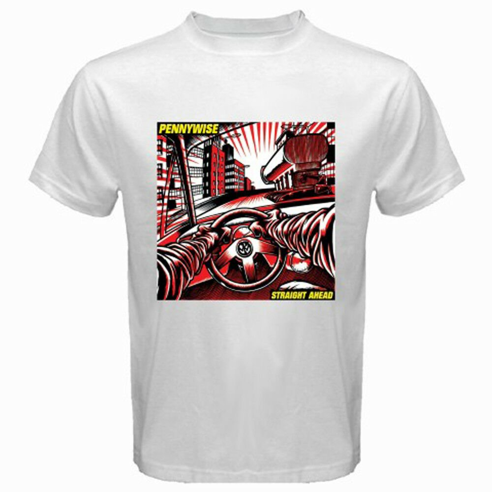 New Pennywise Band Straight Ahead Album Cover Men's White T-Shirt Size S-2XL