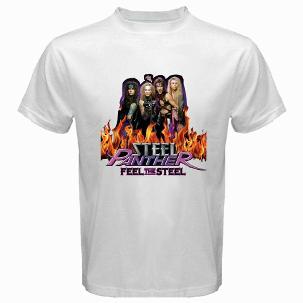 New STEEL PANTHER *Feel The Steel Rock Band Metal Men's Black T-Shirt Size S-2XL